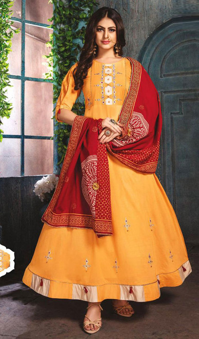 Yellow Color Chanderi Embroidered Gown