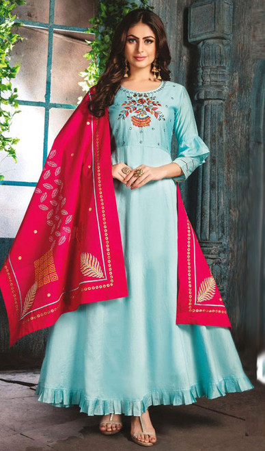 Aqua Color Chanderi Embroidered Gown