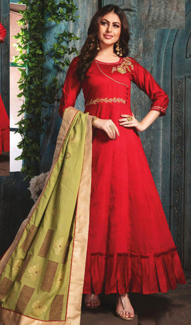 Red Color Chanderi Embroidered Gown