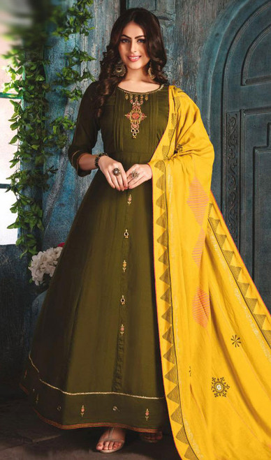 Mehendi Green Color Chanderi Embroidered Gown