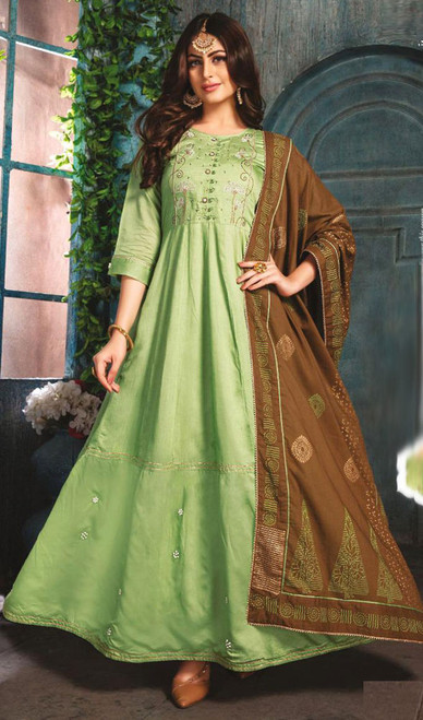 Light Green Color Chanderi Embroidered Gown