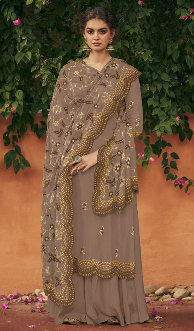 Light Brown Color Silk Embroidered Palazzo Suit
