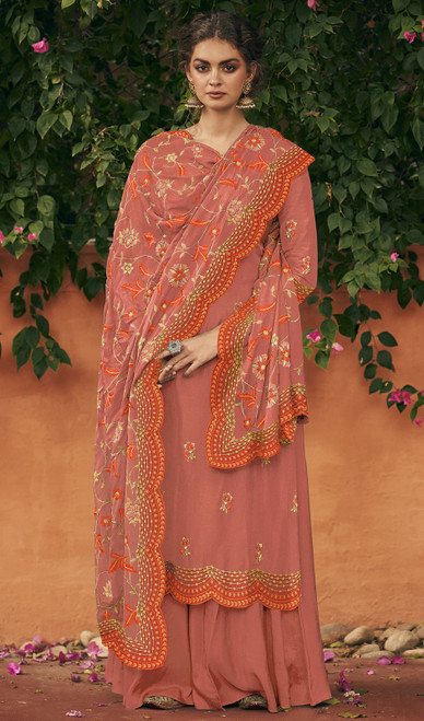 Rust Color Silk Embroidered Palazzo Suit