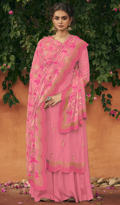 Pink Color Silk Embroidered Palazzo Suit