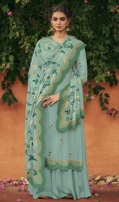 Sky Blue Color Silk Embroidered Palazzo Suit