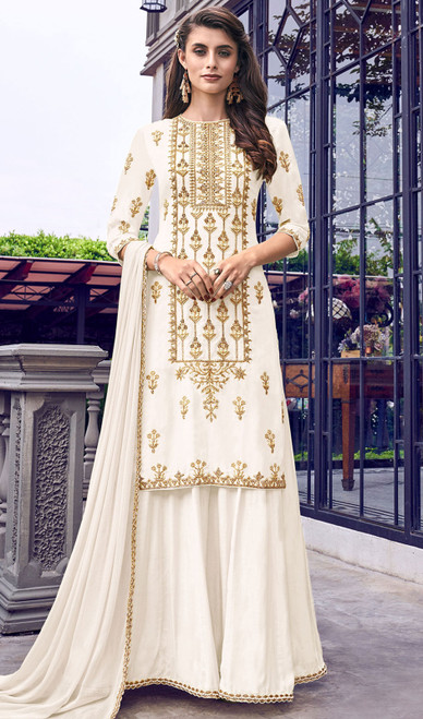 Faux Georgette Embroidered Palazzo Suit in Off White Color