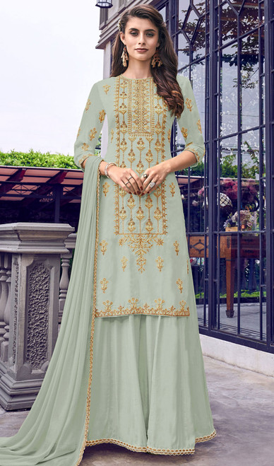 Faux Georgette Embroidered Palazzo Suit in Aqua Green Color