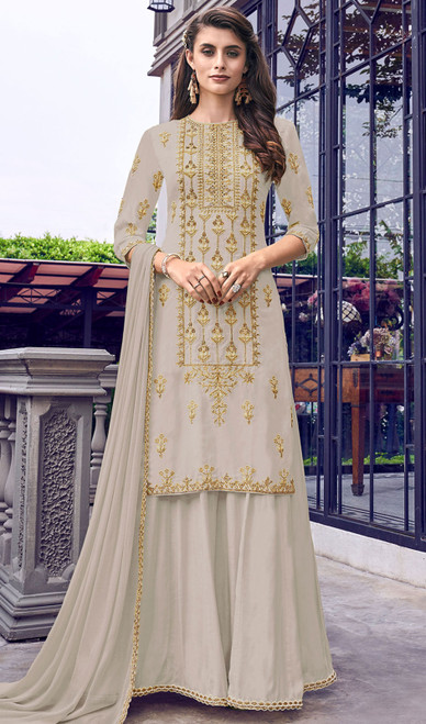 Faux Georgette Embroidered Palazzo Suit in Gray Color