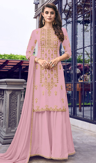 Faux Georgette Embroidered Palazzo Suit in Pink Color