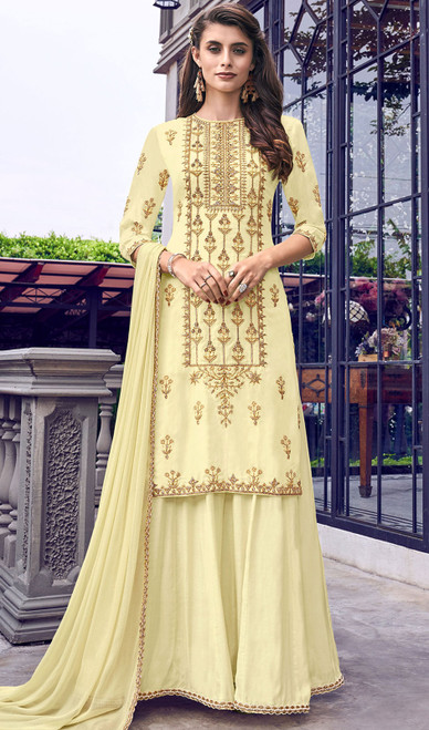 Faux Georgette Embroidered Palazzo Suit in Cream Color