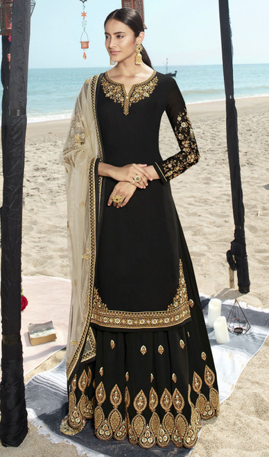 Black Color Faux Georgette Embroidered Palazzo Suit