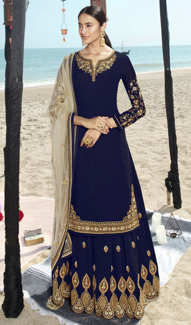 Navy Blue Color Faux Georgette Embroidered Palazzo Suit