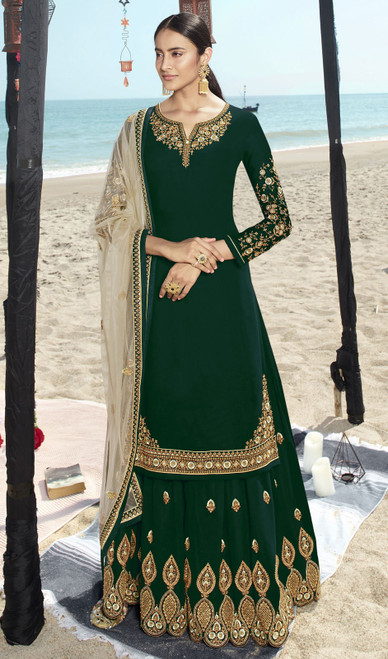 Green Color Faux Georgette Embroidered Palazzo Suit