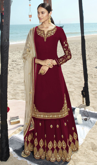 Maroon Color Faux Georgette Embroidered Palazzo Suit