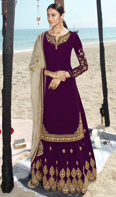 Purple Color Faux Georgette Embroidered Palazzo Suit