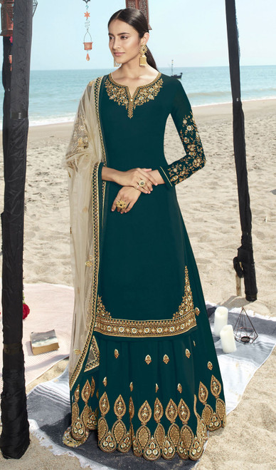 Rama Color Faux Georgette Embroidered Palazzo Suit