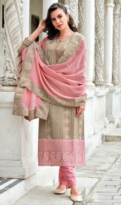 Georgette Lakhnavi Pant Style Suit in Light Brown Color