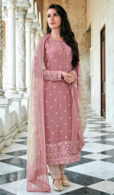 Georgette Lakhnavi Pant Style Suit in Light Pink Color