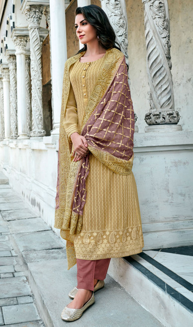Georgette Lakhnavi Pant Style Suit in Mustard Color