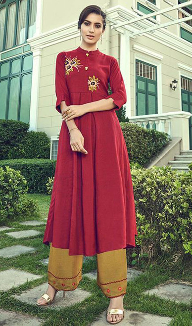 Slub Cotton Embroidered Kurti With Palazzo in Maroon Color