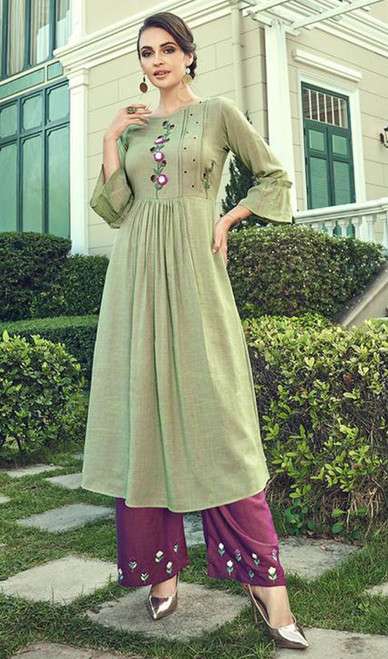 Slub Cotton Embroidered Kurti With Palazzo in Pista Green Color