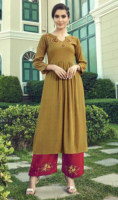 Slub Cotton Embroidered Kurti With Palazzo in Mustard Color