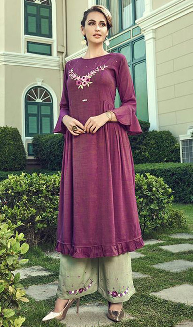 Slub Cotton Embroidered Kurti With Palazzo in Purple Color