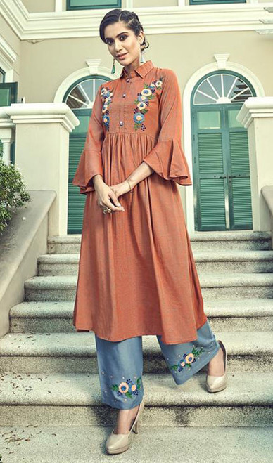 Slub Cotton Embroidered Kurti With Palazzo in Rust Color