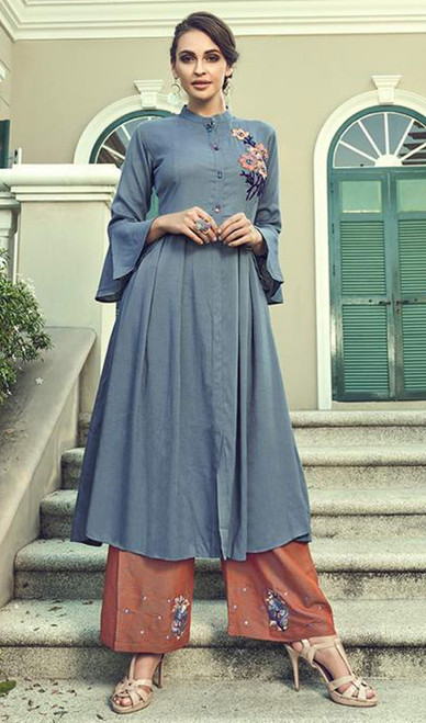 Slub Cotton Embroidered Kurti With Palazzo in Teal Blue Color