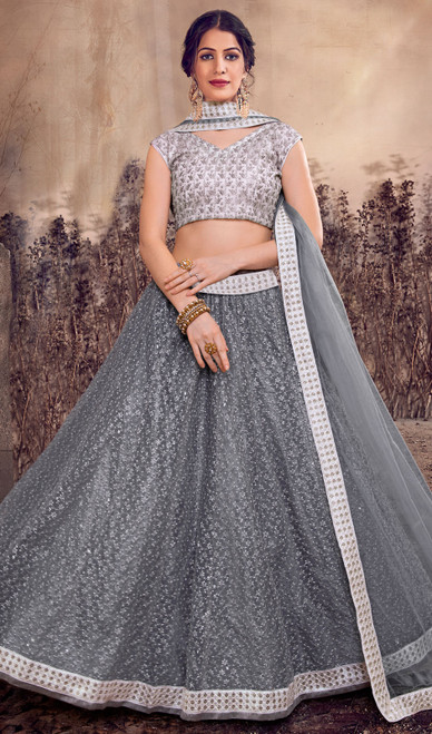 Gray Color Net Designer Lehenga Skirt