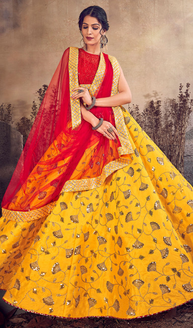 Yellow Color Silk Designer Lehenga Skirt