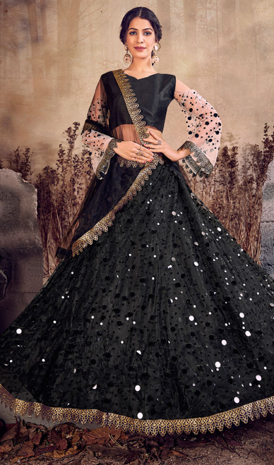 Black Color Net Designer Lehenga Skirt