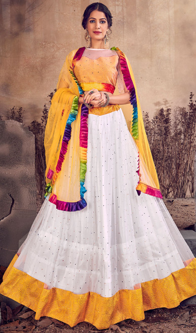 White Color Net Designer Lehenga Skirt