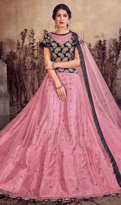 Pink Color Net Designer Lehenga Skirt