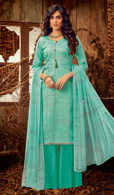 Aqua Color Cotton Printed Palazzo Suit