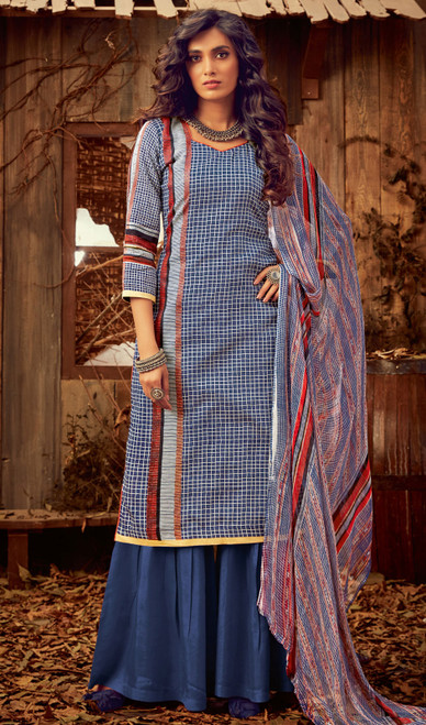 Blue Color Cotton Printed Palazzo Suit