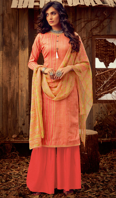 Peach Color Cotton Printed Palazzo Suit