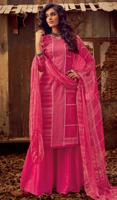Rani Pink Color Cotton Printed Palazzo Suit