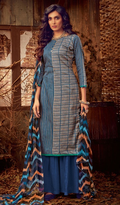Cotton Multicolor Printed Palazzo Suit