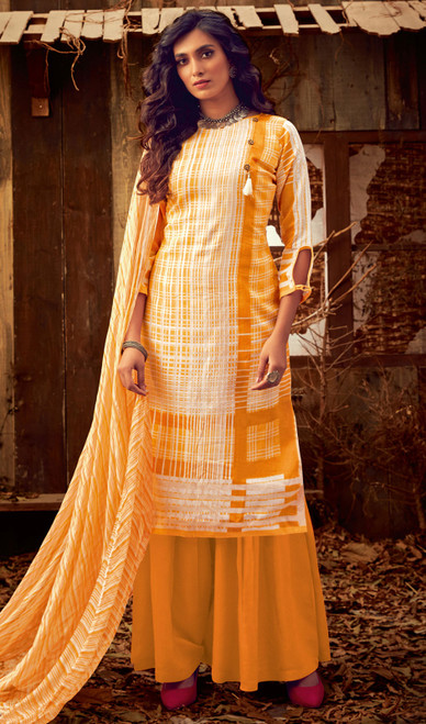 Yellow and White Color Cotton Printed Palazzo Suit