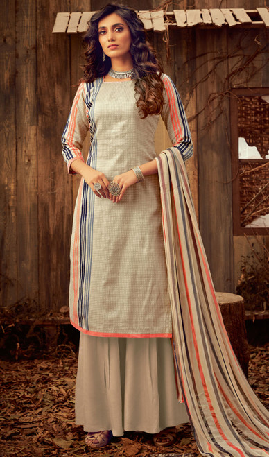 Beige Color Cotton Printed Palazzo Suit
