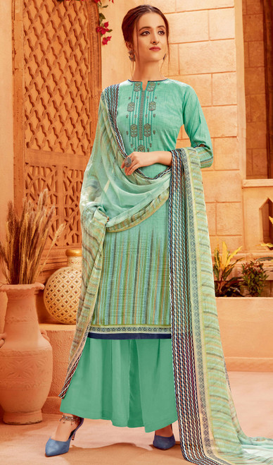 Aqua Green Color Zam Cotton Printed Palazzo Suit