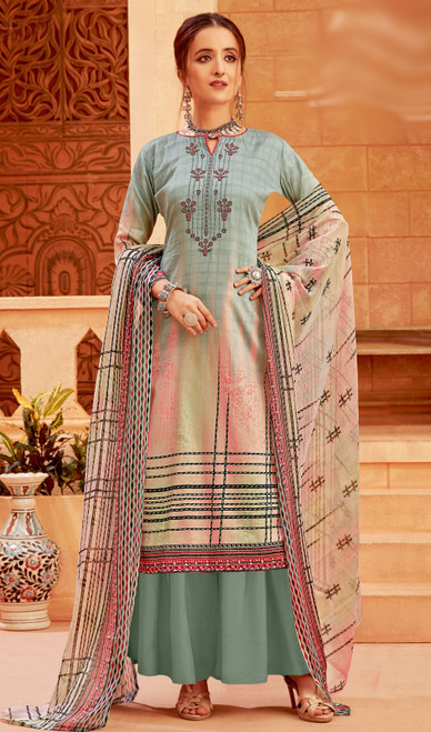 Multicolor Zam Cotton Printed Palazzo Suit