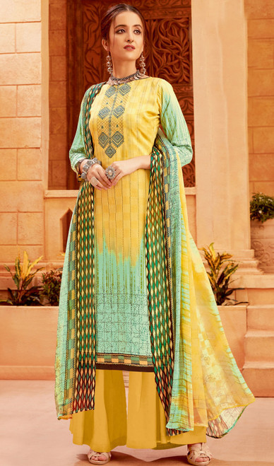 Zam Cotton Multicolor Printed Palazzo Suit