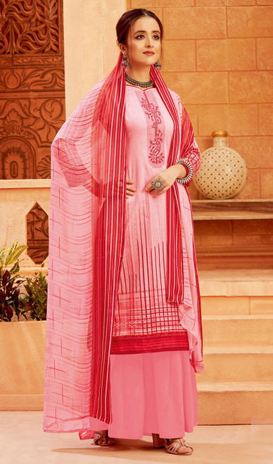 Baby Pink Color Zam Cotton Printed Palazzo Suit