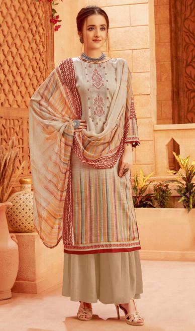Beige Color Zam Cotton Printed Palazzo Suit