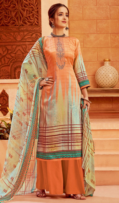 Zam Cotton Printed Palazzo Suit in Multicolor
