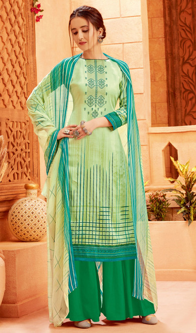 Light Green Color Zam Cotton Printed Palazzo Suit