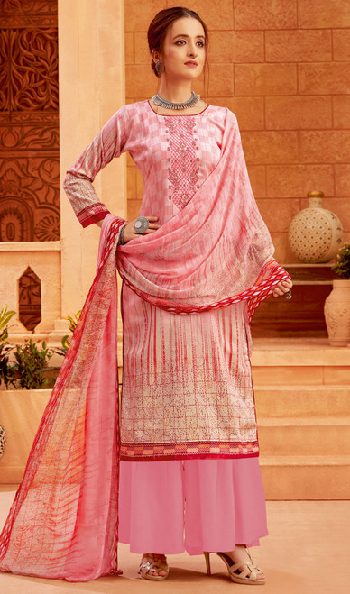 Light Pink Color Zam Cotton Printed Palazzo Suit
