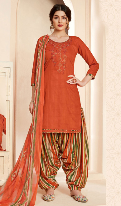 Jam Cotton Printed With Embroidered Patiala Suit in Rust Color